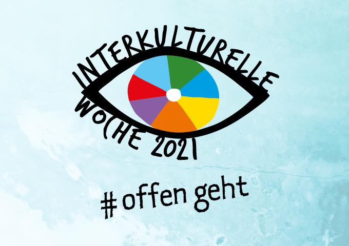Logo der Interkulturellen Woche 2021 mit dem Motto #offen geht   Interkulturelle Woche 2021